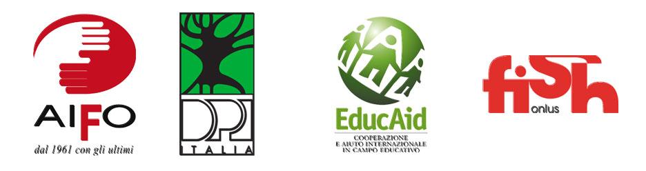 Logo AIFO, DPI Italia, EducAid, FISH